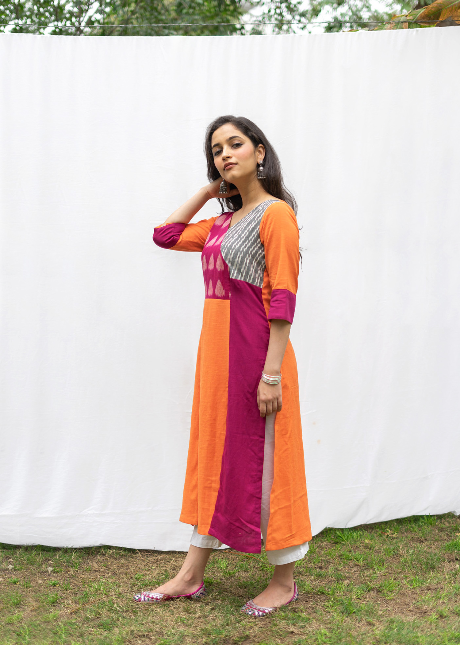 Tangerine Block & Panel Kurta